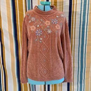 Vintage Pink Embroidered Beaded Floral Sweater